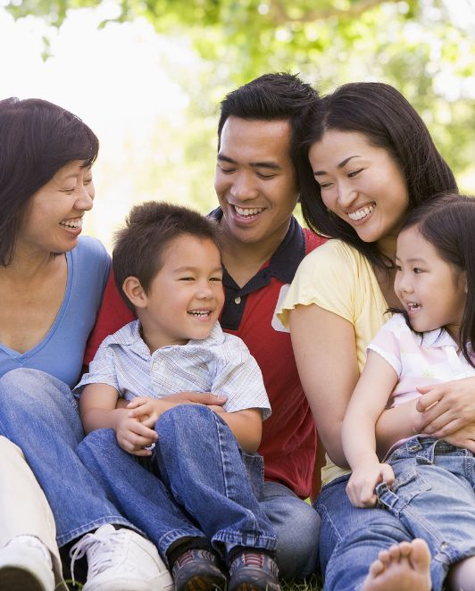 Happy Asian Family having a rest